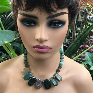 Shades of Green Stone Statement Necklace